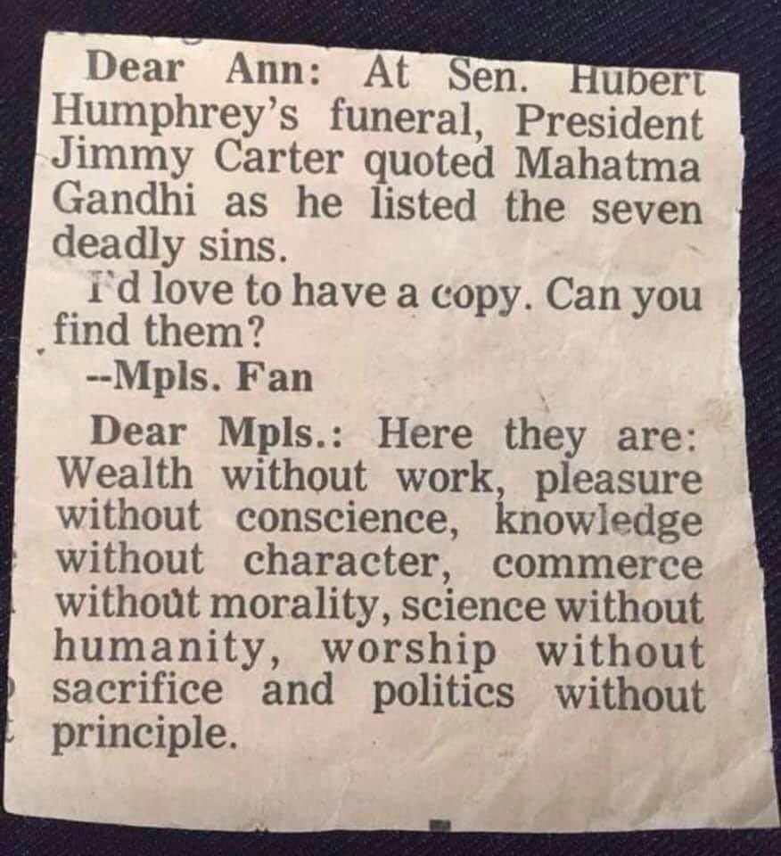 Mahatma Gandhi Seven Sins