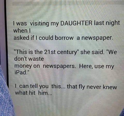 Hand Me A Newspaper..