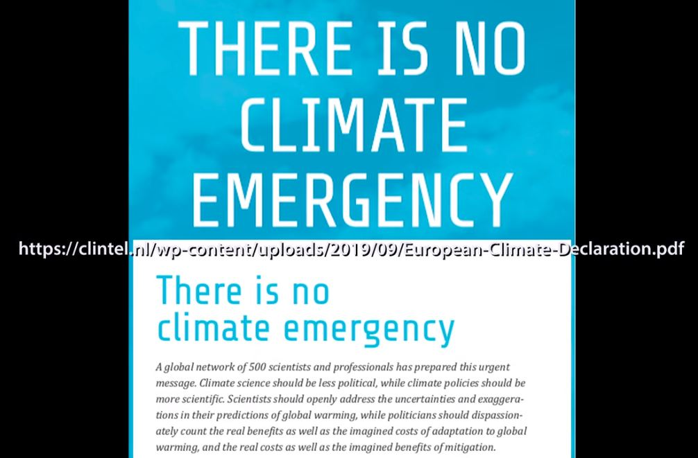 500 Scientists Say to UN There Is No Climate Emergency