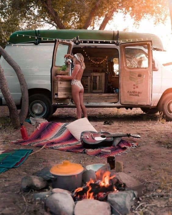 Girl And Campervan