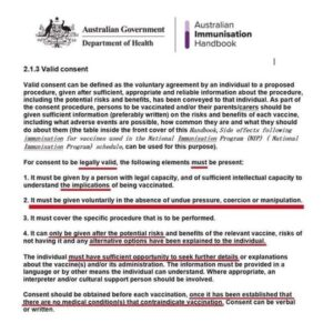 Aust Gov Dept Health Vax Informed Consent
