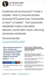 HCQ Censorship Admitted Wrong