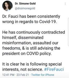 Simone Gold On Fauci