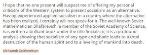 Aleksandr Sokzhenitsyn On Socialism