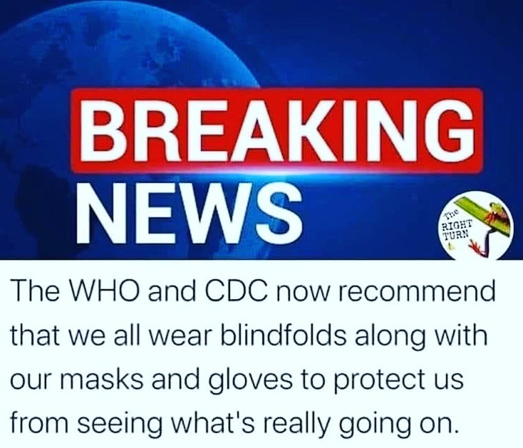 CDC and WHO Recommend We Wear Blindfolds