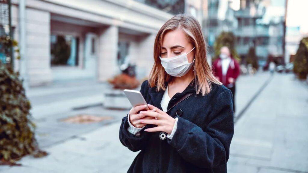 Masked Girl On Phone