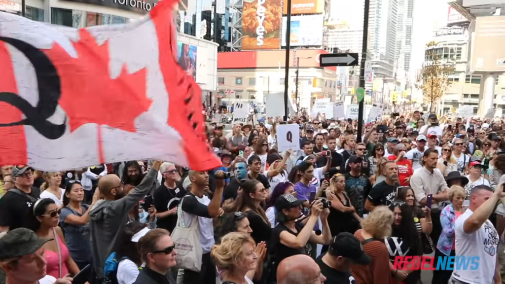 anti-mask protest in Vancouver Canada 13-9-20